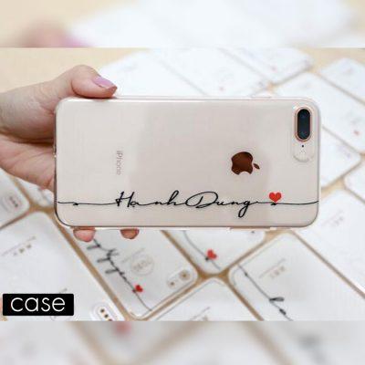ốp lưng in tên với thiết kế trái tim